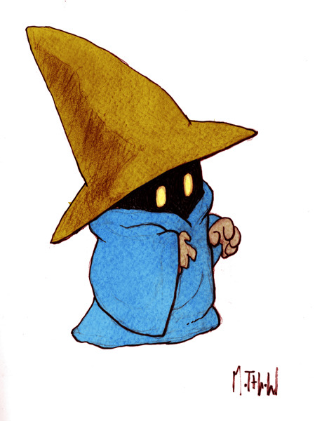 Final Fantasy Black Mage casts FIRE 2!!!