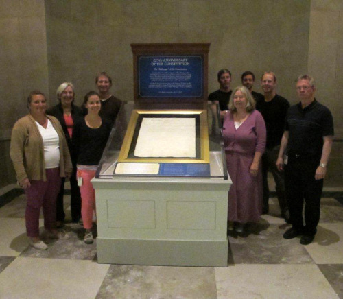 A momentous day at the National Archives!  This morning, September 14, 2012, in recognition of the 225th anniversary of the US Constitution, a team installed the Transmittal—or the Fifth Page—of the Constitution for public viewing.  This document has never before been exhibited at the National Archives, and very likely has never been displayed in its 225 year history.  The parchment is encased in an oxygen-free environment as are the other Charters of Freedom documents. The team who worked together included conservators Mary Lynn Ritzenthaler and Kitty Nicholson, as well as exhibits colleagues, security specialists and art handlers. Constitution Day is Monday September 17.  The Transmittal Page is on view from Friday Sept 14 through Wednesday Sept 19.
