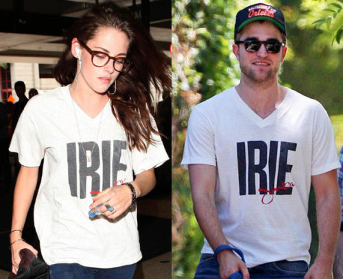 robert pattinson and kristen stewart loves reggaerobert pattinson and kristen stewart  - irie t-shirt (2012)