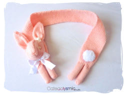 cateaclysmic:  Pink Pearl Bunny Rabbit Scarf ♥  Cateaclysmic Crafts ♥