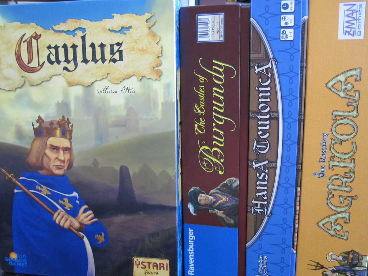 THE ESSENTIAL COLLECTION: THE 90-MINUTE EURO x2 Caylus & The Castles of Burgundy (Honorable Mention: Hansa Teutonica & Agricola) And possible mention of Troyes as well but I've only played it three times. So, Caylus, obviously a classic.  A game of perfect information and worker placement with a genius little mix in of the provost.  This game is fun and it's tough.  It rewards creative and thorough thought. The choice for second inclusion was difficult and it remains to be seen if I'm not just plum crazy for barring Hansa Teutonica entry into the VIP section of the party.  But I would like to expound on the ways Burgundy is a better game than Agricola. First, Burgundy is a game with no hidden information.  And no text.  Those two things are positives. They are both fiddly but Burgundy at least tries to help you not to forget to reseed the board in certain areas (many a game of Agricola featured extra or too few Reed because I couldn't remember if I had added to it or not). Both games allow you to build your own cool settlement but Burgundy allows you to score points along the way!  I NEED CONSTANT AFFIRMATION. Burgundy is also of a lot lighter mass and easier to carry around.  QEDuh.