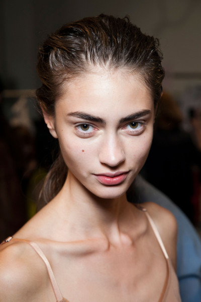 Marine Deleeuw backstage at Reed Krakoff Spring 2013, New York