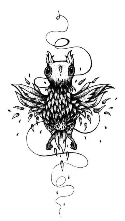 """Pheonix-owl hybrid bird"" fineliners on paper -2012. Thousand dots later.. my arm hurts. will probably wait until I use this shading technique again."