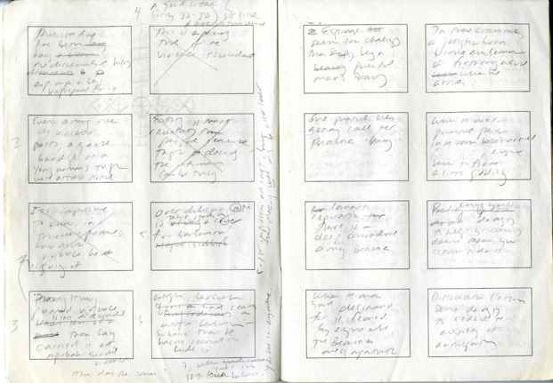 "Jennifer Egan's storyboard manuscript for her Twitter story, ""Black Box"""