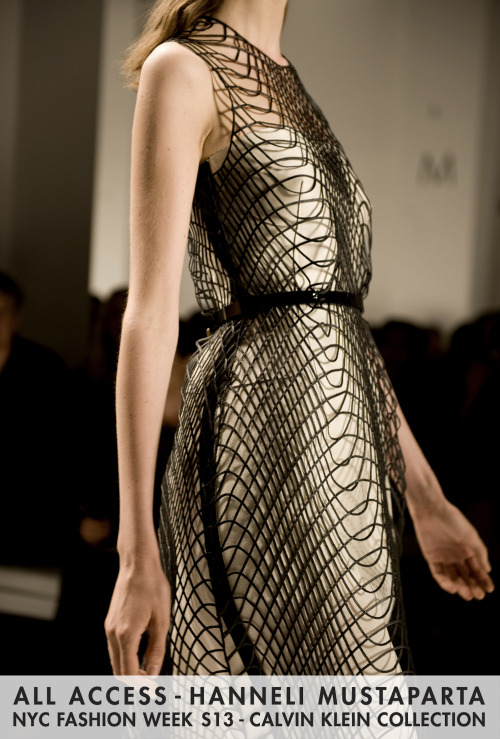 The layers of this dress are even more mesmerizing on the runway.  The netting moved slowly as she walked, which created an astounding effect.
