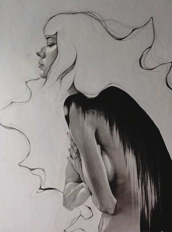 mydarkenedeyes:  Łukasz Koniuszy - Restless Pencil, charcoal, pastel and acrylic on canvas.