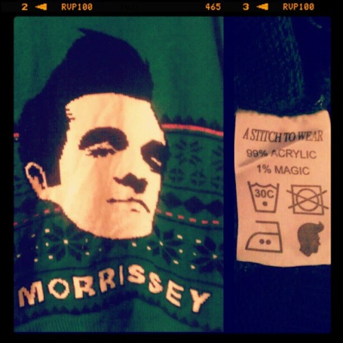 My favorite time of year is whenever it's cool enough to wear this. #Morrissey #Moz #sweater #theSmiths #amazing #Christmassweater (Taken with Instagram)