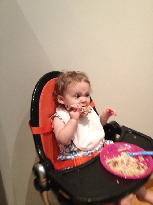 Chloe had her first drumstick ever at dinner tonight.  She really got into it.