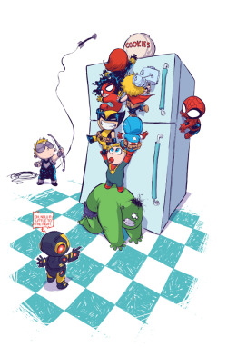 ktupsidedown:  Upcoming alternate cover for The Avengers  Artist: Skottie Young