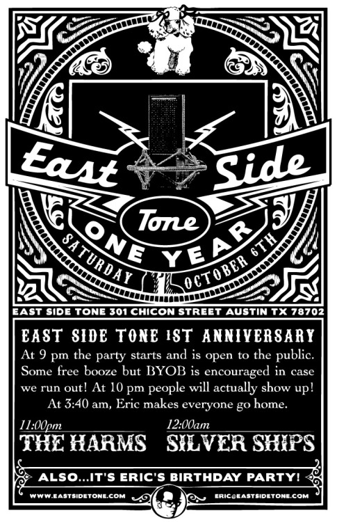 Celebrating East Sides Tones one year anniversary with a party! You can RSVP for it here. P.s This is open to the public and a great way to check out the studio in action as we record the above bands live!