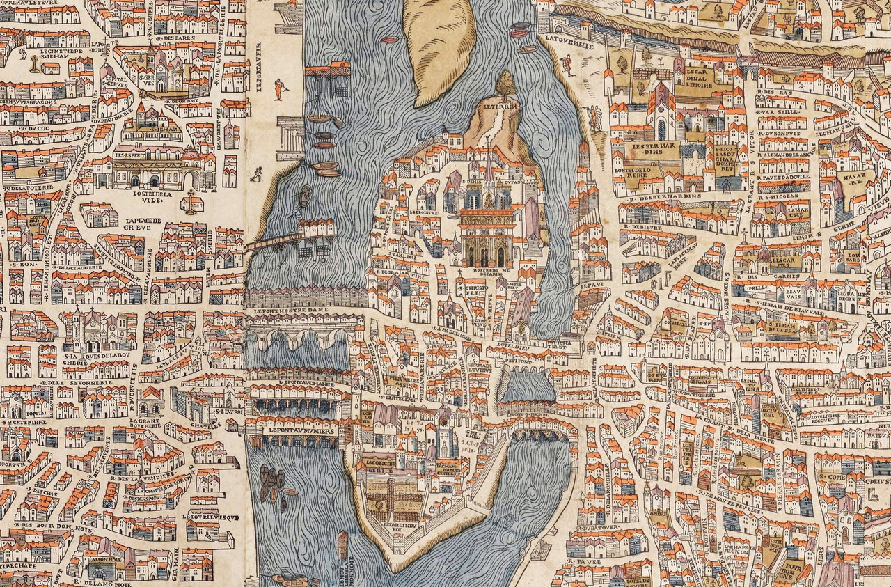 willigula:  Detail of Île de la Cité, Le Marais, and Quartier latin from a map of Paris, 1550. Note that the map is rotated so that north is to the left. You can view the entire original at Old Maps of Paris