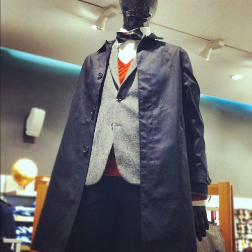 #fall #menswear at h&m #bowtie #black #trenchcoat #instafashion #shopping #tweed #orange #layers #instamood  (Taken with Instagram at H&M)
