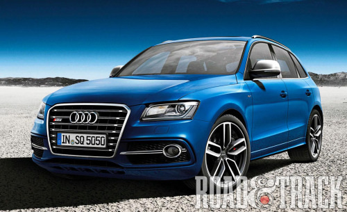 The Audi SQ5 TDI will be unveiled at the 2012 Paris Auto Show featuring a 3.0-liter twin turbo TDI diesel engine producing 313 bhp and 479 ft.-lb. sprinting to 60 mph in 5.1 sec with the frugal figure at 32 mpg. (Source: Road & Track)