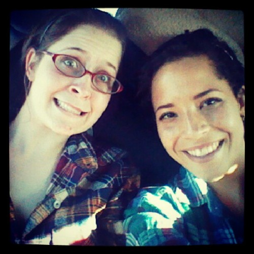 Emily and I in the car going to IDRHAJ (Taken with Instagram)
