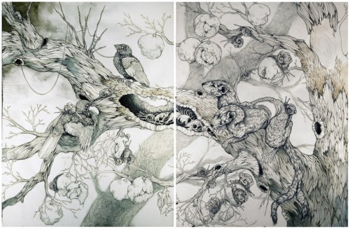 "2headedsnake:  ""Within the Undergrowth"" diptych by Caitlin Hackett"
