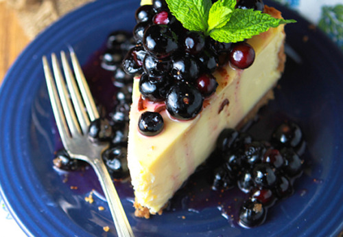 yummyinmytumbly:  Blueberry Coconut Rum Cheesecake