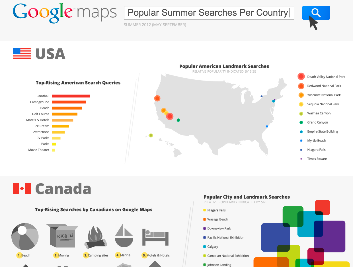 Check Out This Infographic From Google Maps Showing The Most Searched Spots Of The Summer
