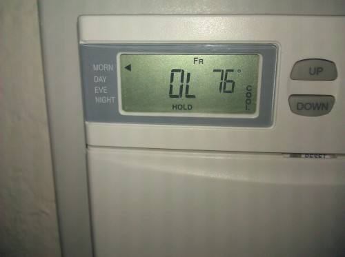 "6pm, get home from work - It's so hot in my apartment the thermostat reads OL, which means ""Out of Limits"" and my smoke alarm is going off…."