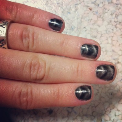 Magnetic nail polish. This is the future ladies and gentlemen.  (Taken with Instagram)