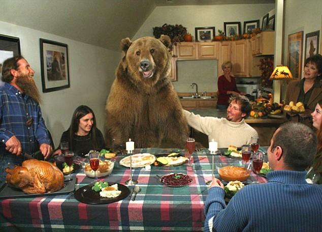 The bear woked from hibernation because he was so hungry.  He found a house with some people and he thought he'd like to eat them.  However, they invited him to their house and treated him gently with smiles, so he felt ashamed about himself.