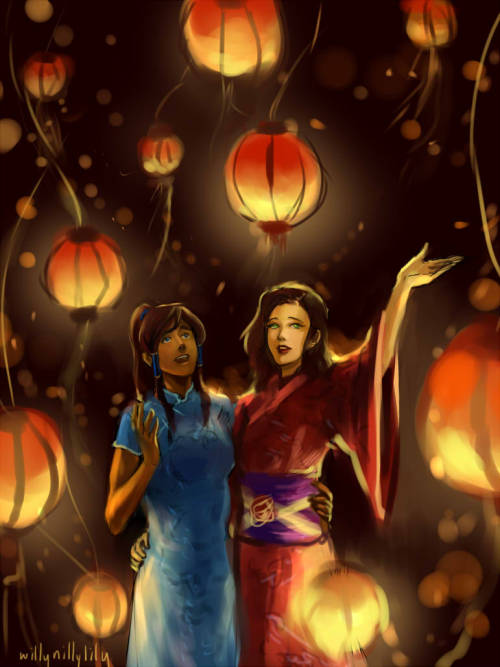 "killybillylily:  ""Festivities"", day 6 of Korrasami Week.   korra and asami wear a qipao and yukata respectively to a lantern festival."