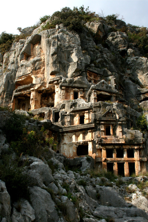 ancientart:  The rock-cut out tombs of Mrya, located a few kilometers from Demre in the Anatolian region of Turkey.