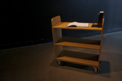 The shelving cart—the ultimate temporary place for books—contained five volumes of pirated historical texts inaccessible to those outside (or in one case, inside) the city.
