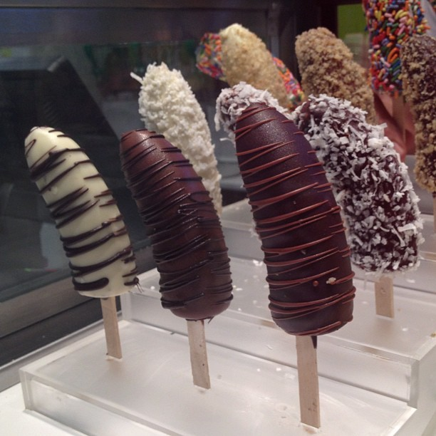 Questionable looking #chocolate #bananas #nyc #popsicles #dessert #fruit (Taken with Instagram)