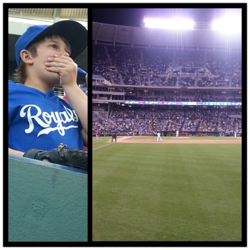 A young Royals fan so thrilled to watch his favorite team play tonight under the lights!