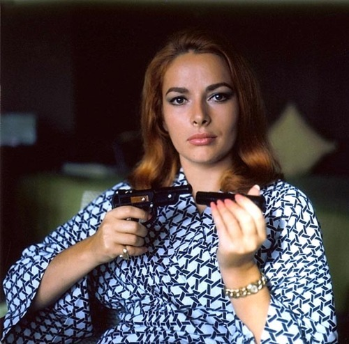 "gunsandposes:  Karin Dor in Bond girl mode. Fun fact: In 2008 she performed on stage in Munich in Man lebt nur dreimal (""You Only Live Thrice"")."