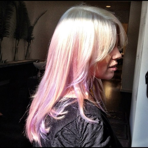 My Little Pony Hair #hairflair #haircolor #pastel #lavender #peach #paintedbyme #auracolorist  (Taken with Instagram)