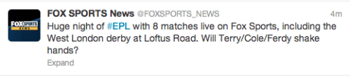 So Fox Sports News (Australia) just tweeted this.Can I ask when did the handshakes become more important than the football?