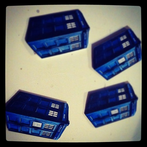 Making #TARDIS charms for an order :D #doctorwho!! (Taken with Instagram)