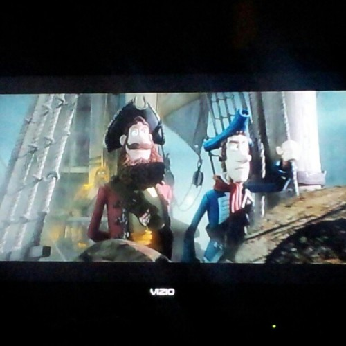 I love movies about pirates. I blame my mother,  this one has a pretty sweet soundtrack.  #pirates #booty #parrot #pegleg #eyepatch #claymation #theclash (Taken with Instagram)
