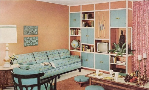 Living room design from the Sherwin Williams Home Decorator, 1960.