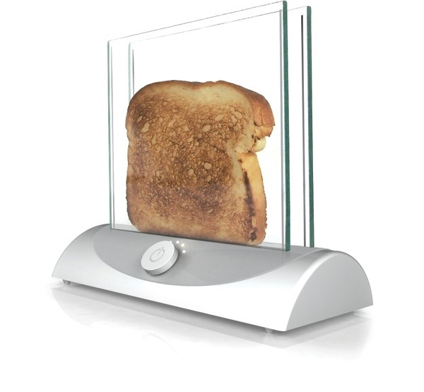 designcloud:  Transparent Glass Toaster To demonstrate how the Inventables Marketplace can be used to inspire new product innovations, the Inventables Concept Studio brainstormed and created renderings for some new product concepts. Each of the concepts takes an unmet need and marries it with a material or technology found in the marketplace. This transparent toaster allows you to see the bread while it is toasting so you're never surprised by toast that comes out too dark. This idea is based on a transparent heating glass technology. Although the glass does not currently get hot enough to toast bread, the vendor explained that, with some R&D, this application may be possible. The concept was developed by the Inventables Concept Studio.  Yes. Male this happen. I feel like there will be far less accidents.