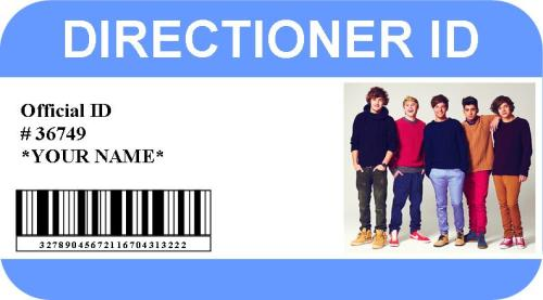 DIRECTIONER ID! WANT ONE? Reply with your first name and preferred last name (eg tomlinson) & the colour you want for your card! xxx