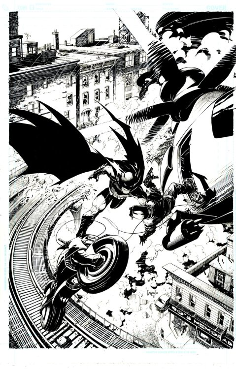 comic-books:  Inks for cover of Batman #2. October, 2011. Art by Greg Capullo.