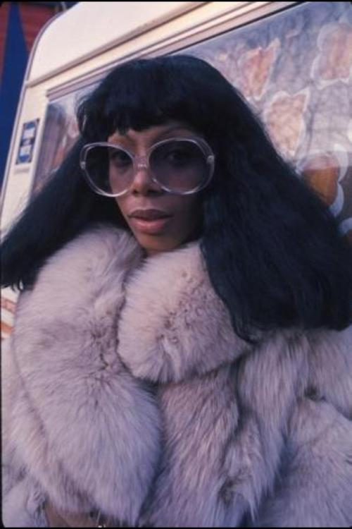 A Pair of sunglasses - and a Disco Queen. malesoulmakeup:  Donna Summer