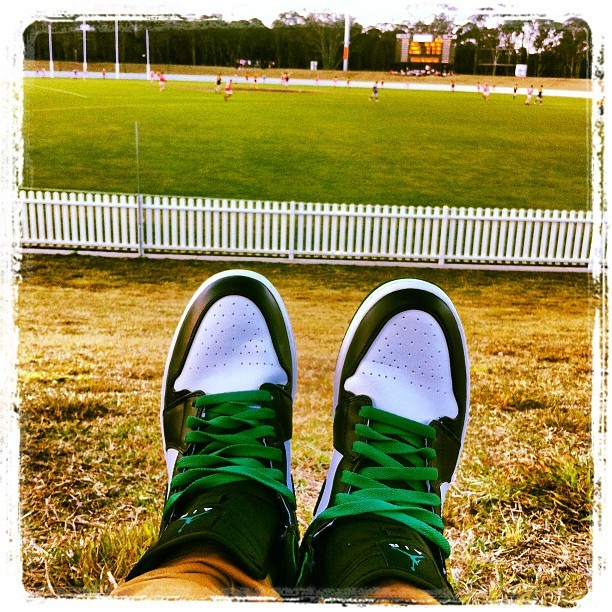 Watching @dj_ziggy #AFL grand final!! #Jordan1 #celtics (Taken with Instagram)