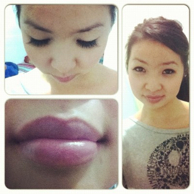 Cake face today 😓 #trying#makeup#fake#lipstick#lashes 💋💄 (Taken with Instagram)