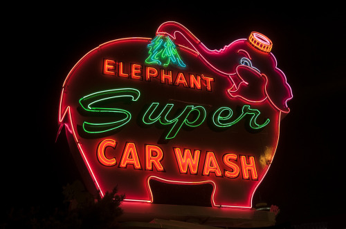Elephant Super Car Wash - Seattle, Washington USA - September 11, 2012Credit: Curtis Gregory Perry on FlickrI'll be posting an equally great shot Mr. Perry took of the left-facing version of the sign tomorrow!