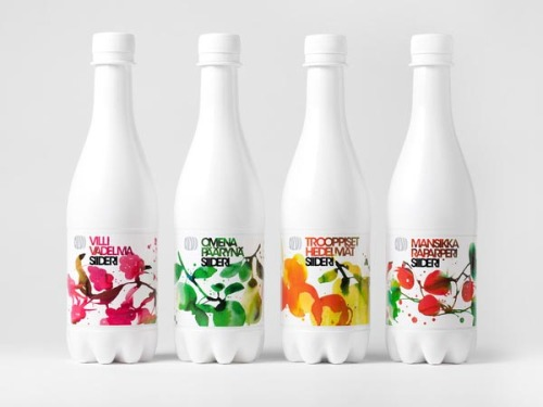 Creative Packaging Design Helsinki, Finland-based creative agency Bondredesigned the packaging for Olvi Cider with beautiful illustrations by Stina Persson. The aim was to create a clean white bottle design with lovely natural elements. via: WE AND THE COLORFacebook // Twitter // Google+ // Pinterest