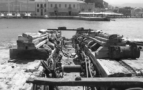 Old pier, Hania, Crete. Captured with a Nikon F100 and Kodak TMax 100.