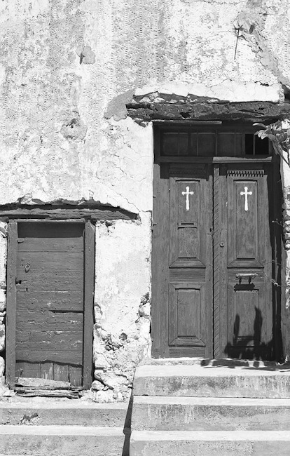 Monastery dorm rooms. Crete. Nikon F100 and Kodak TMax 100.