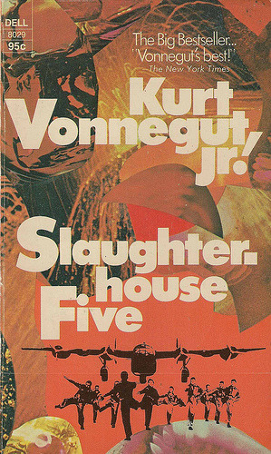 Slaughterhouse-Five, or The Children's Crusade: A Duty Dance with Death, by Kurt Vonnegut, A Fourth-Generation German-American Low Living in Easy Circumstances on Cape Cod [and Smoking Too Much], Who, as an American Infantry Scout Hors de Combat, as a Prisoner of War, Witnessed the Fire Bombing of Dresden, Germany, 'The Florence of the Elbe,' a Long Time Ago, and Survived to Tell the Tale. This is a Novel Somewhat in the Telegraphic Schizophrenic Manner of Tales of the Planet Tralfamadore, Where the Flying Saucers Come From. Peace. Now that's a book title.