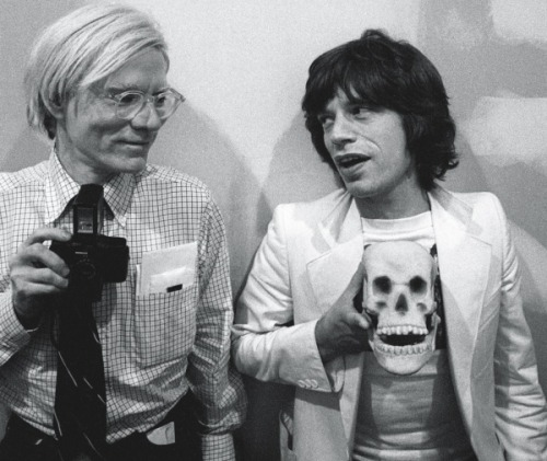 Icons Andy Warhol cultural icon, and Mick Jagger of The Rolling Stones - Image by Ken Regan