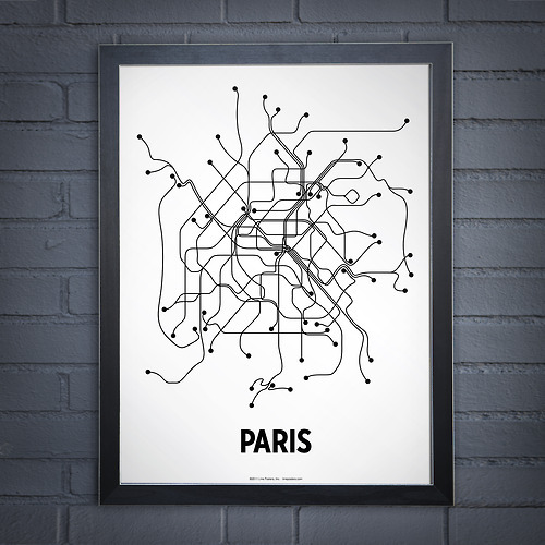 Metro line art poster series 'Lineposters' by Cayla Ferari and John Breznicky /// I'd hang one in my office. T-shirts available, too. Great and simple idea.