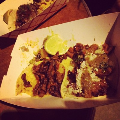 Love there tacos!  eaterup:  last night's dinner: taco pasado & taco papas from the big star taco food truck at the hideout  a.v. club block party. (pork & potato.) big star tacos is legendary here in chicago for being UNBELIEVABLY DELICIOUS and their food truck is just as good as their restaurant. nom nom nom nom tacos.