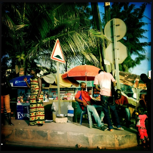 everydayafrica:  Street-corner kiosk in Dakar, Senegal, July 19, 2012. Photo by Holly Pickett.